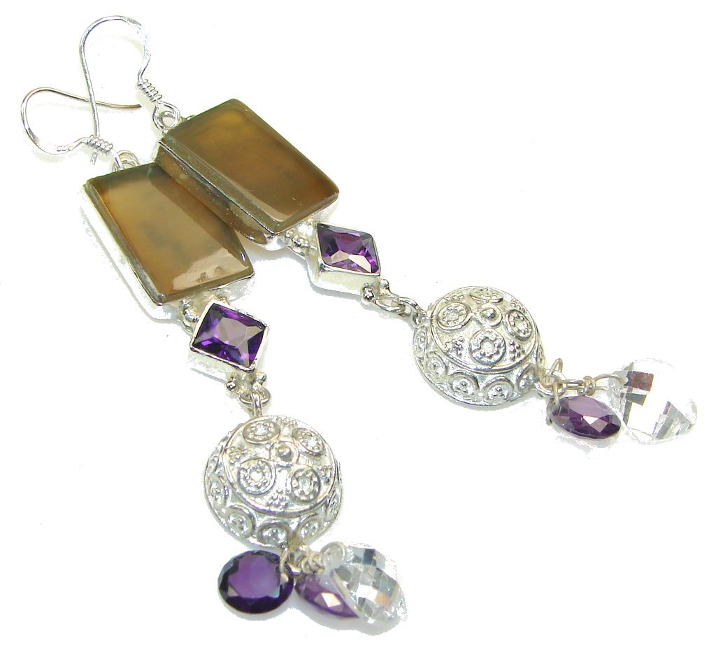 New Design Of Agate Sterling Silver earrings / Long
