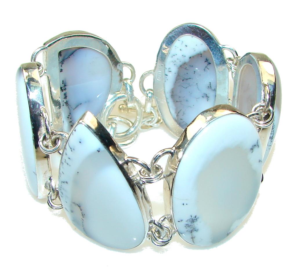 Winter White!! Dendritic Agate Sterling Silver Bracelet