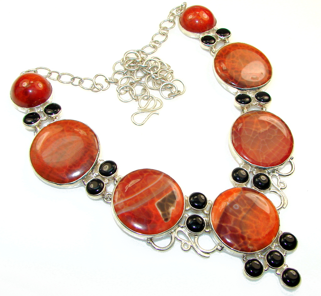 Aura Of Beauty!! Mexican Fire Agate Sterling Silver necklace