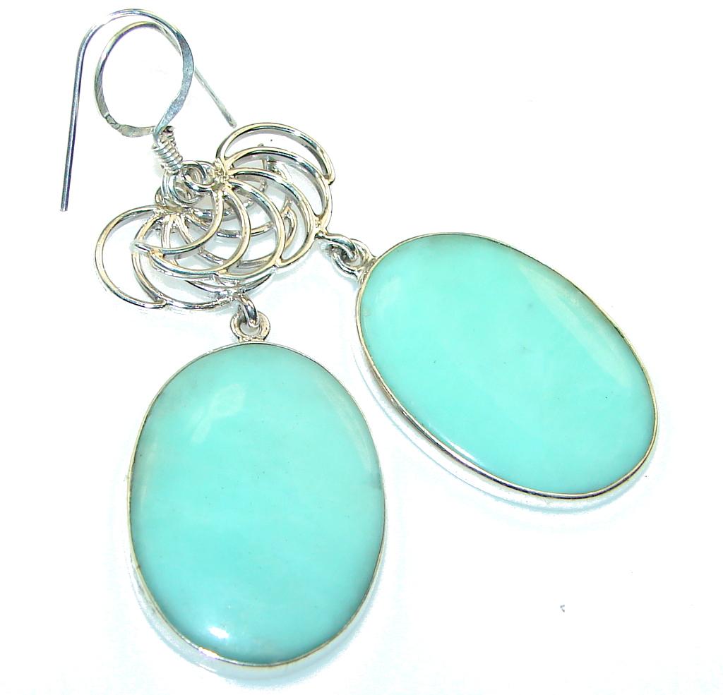 Delicate!! Green Chrysoprase Sterling Silver earrings