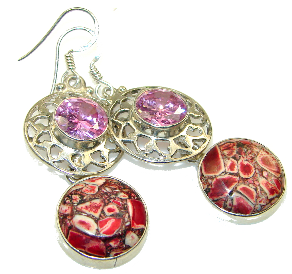 Excellent! Red Crinoid Fossil Sterling Silver earrings