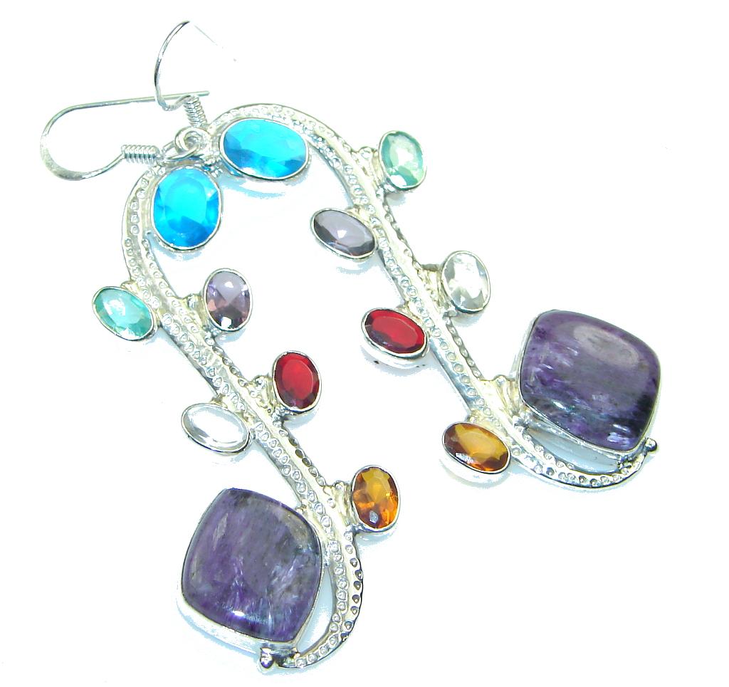Energe Bloom!! Purple Charoite Sterling Silver earrings