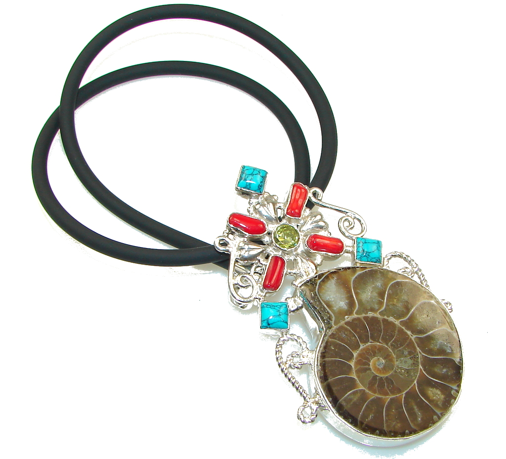 Pale Beauty!! Ammonite Fossil Sterling Silver necklace