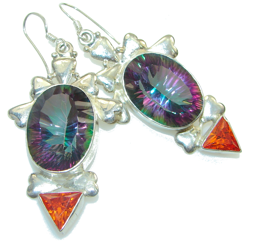 Big! Tropical Rainbow Magic Topaz Sterling Silver earrings