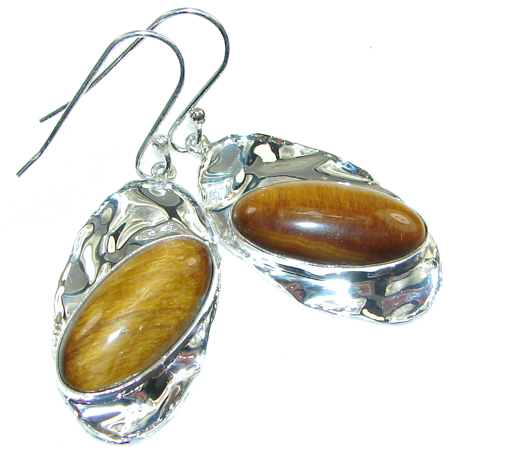 Golden Tigers Eye Hammered Sterling Silver Earrings