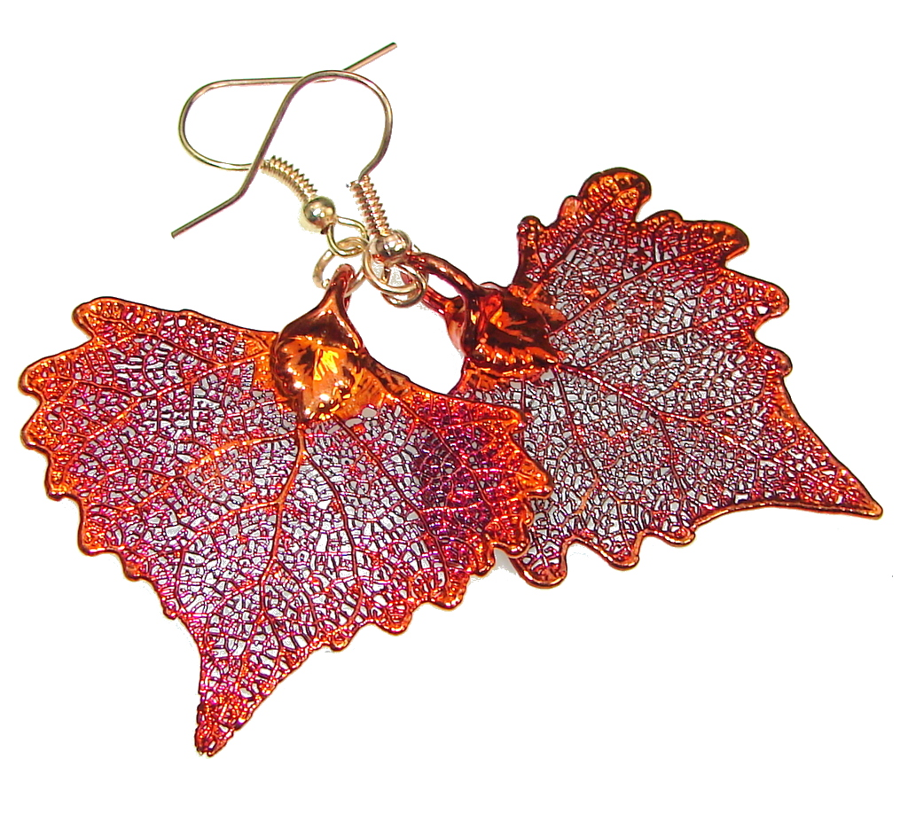 Fashion!! Deep In Copper Leaf Sterling Silver earrings