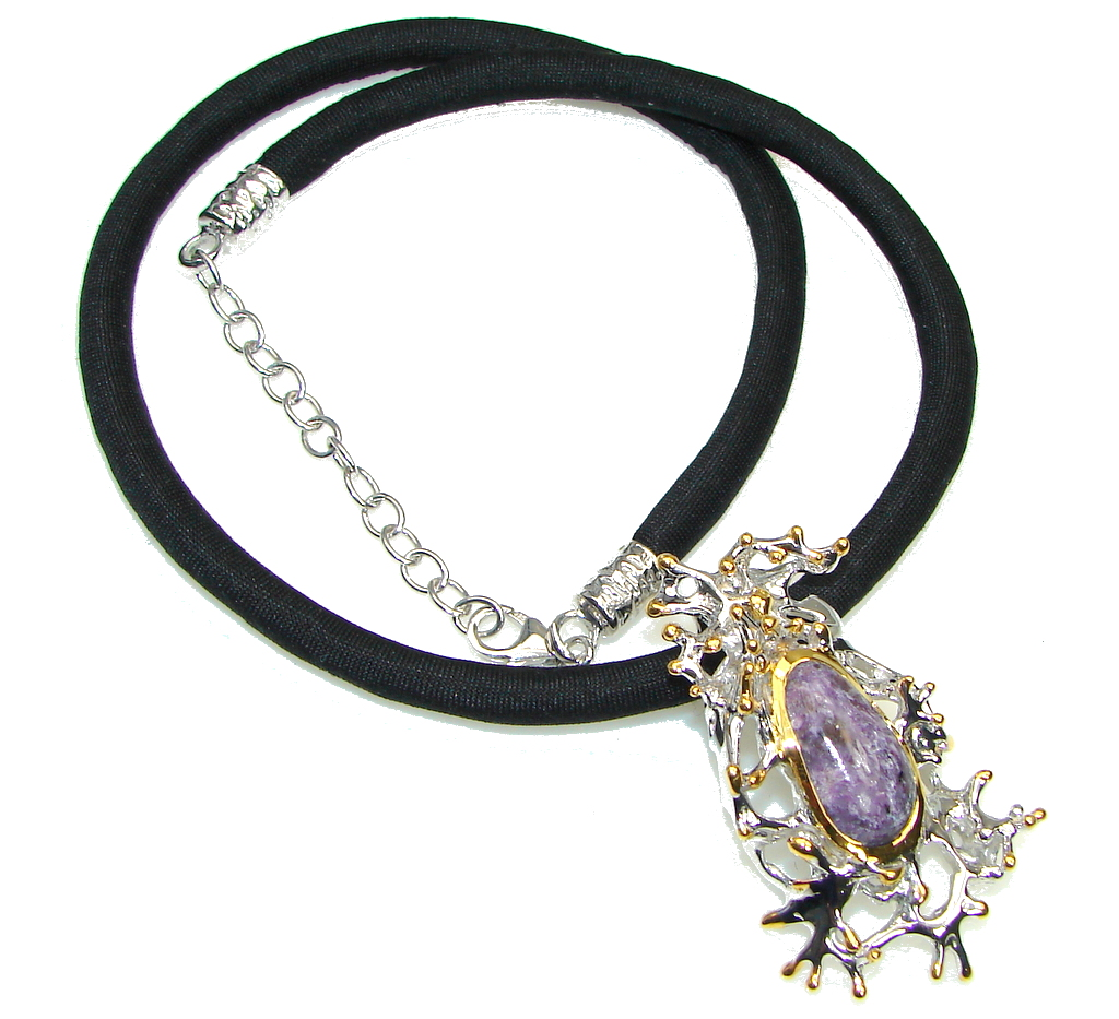 Stone Of Power! Italy Made Purple Charoite, Gold Plated Sterling Silver Necklace