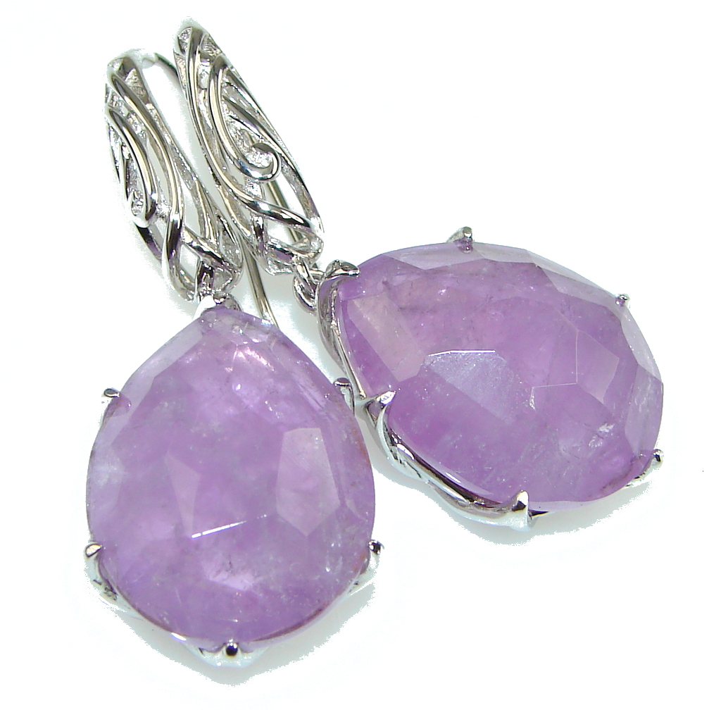 Amazing!! Natural Purple Amethyst Sterling Silver earrings