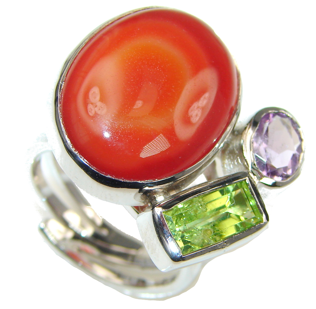 Aura Of Beauty! Orange Agate Sterling Silver Ring s. 8 - Adjustable