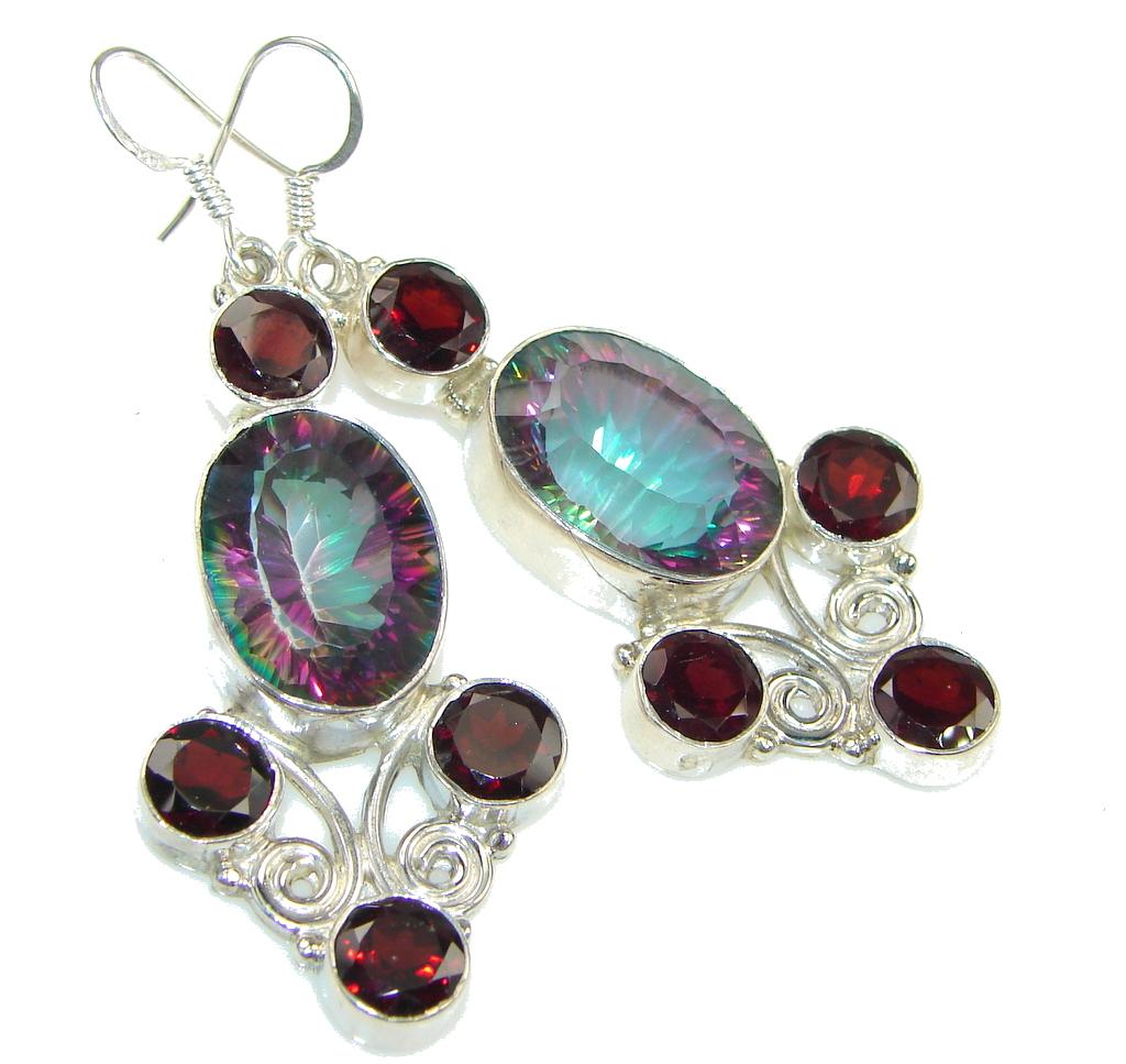 Big! Secret Rainbow Magic Topaz Sterling Silver earrings