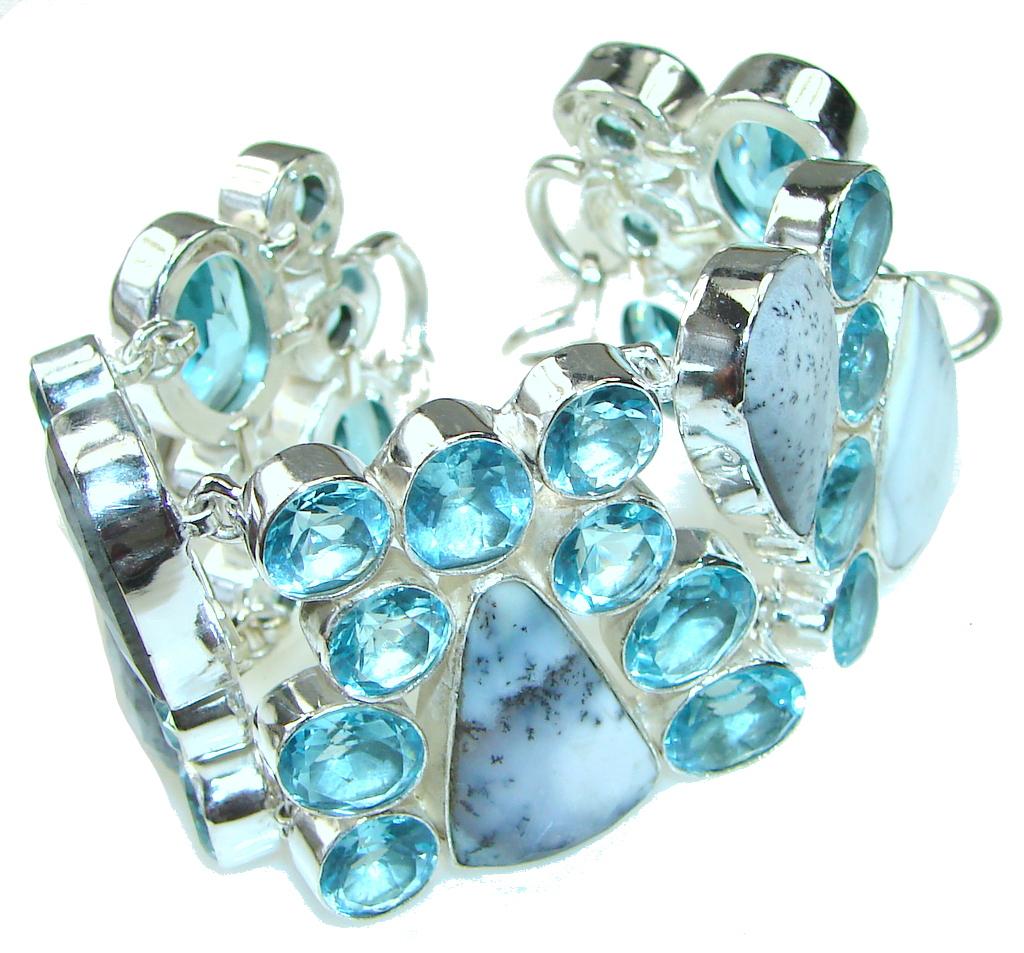 Secret Beauty!! White-Black Dendritic Agate Sterling Silver Bracelet