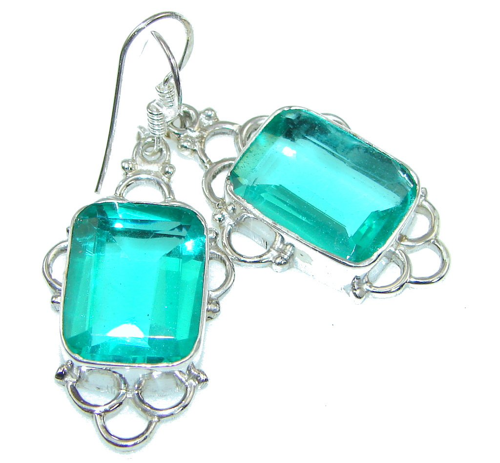 Green Lotus! Fresh Green Quartz Sterling Silver earrings