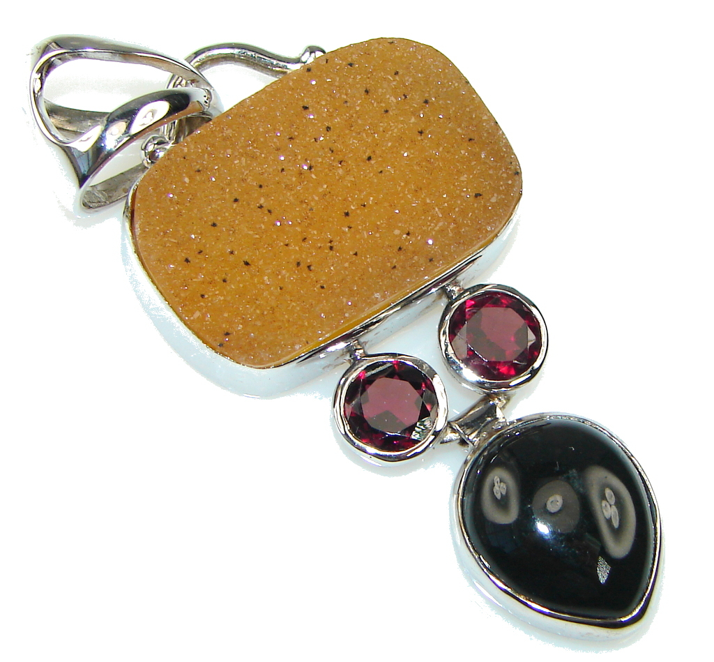 Amazing! Brown Agate Druzy Sterling Silver Pendant