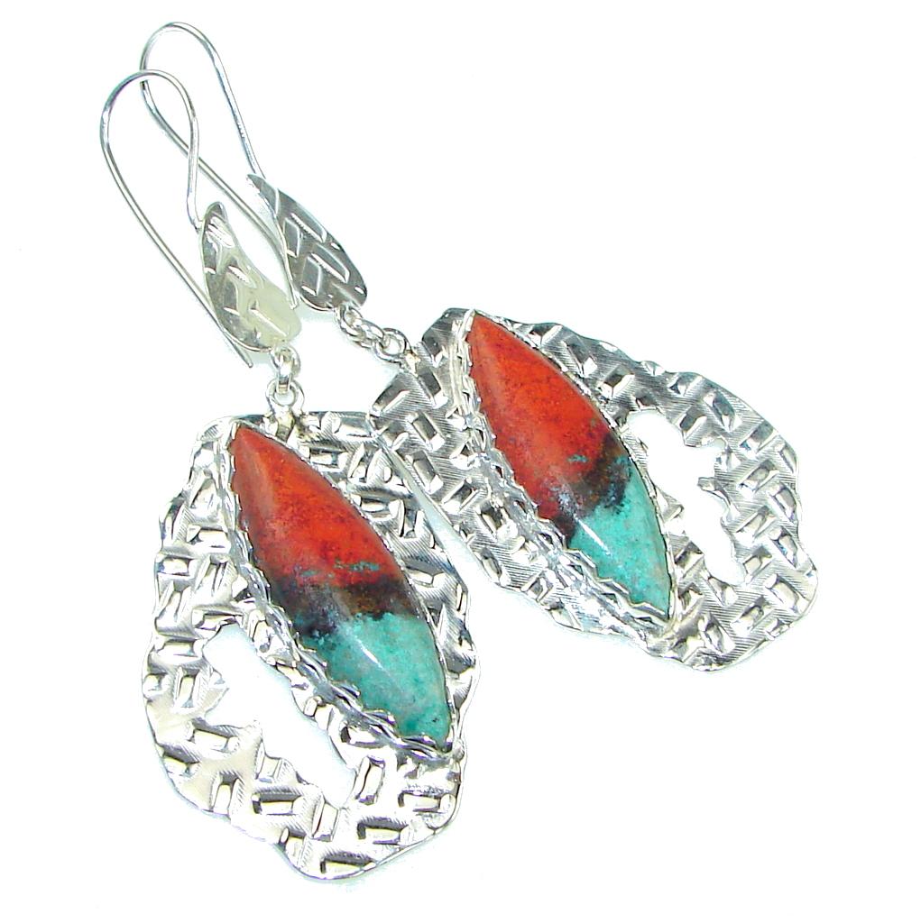Exclusive Design! AAA Red Sonora Jasper Sterling Silver Earrings / Long
