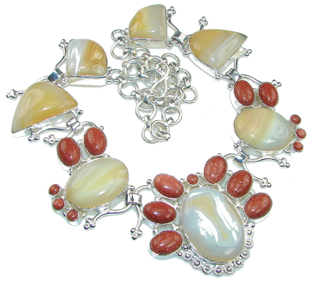 Fantastic Yellow Botswana Agate Silver Overlay necklace