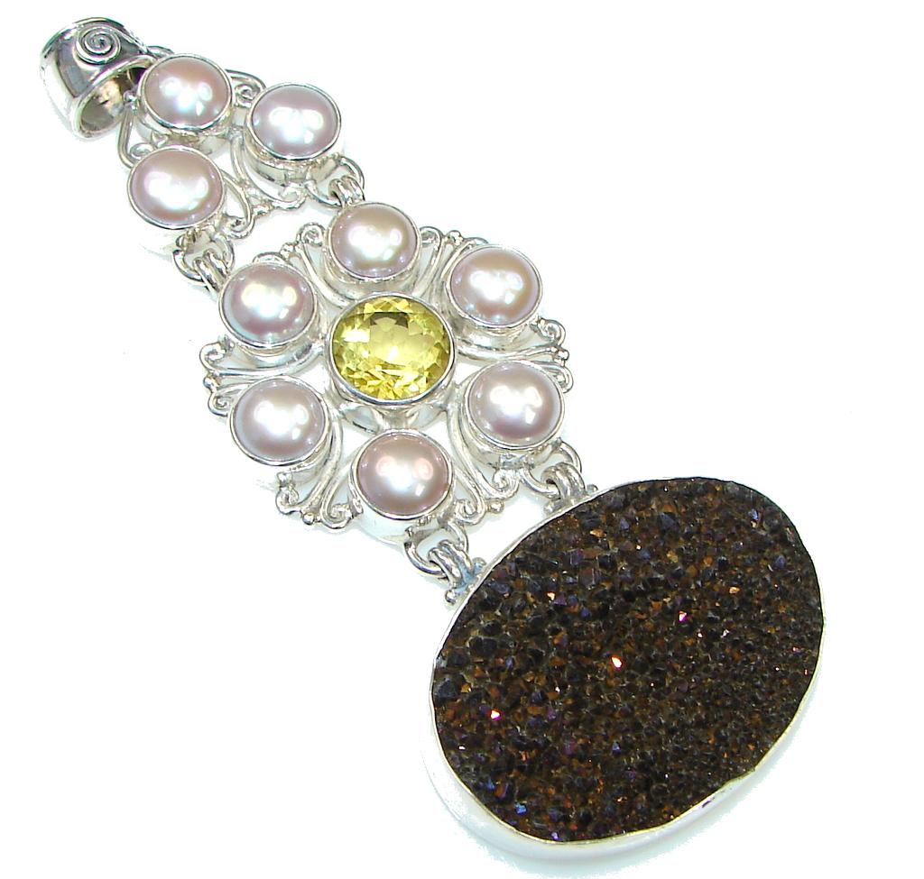 Big! Pearl Citrine Agate Druzy Sterling Silver Pendant