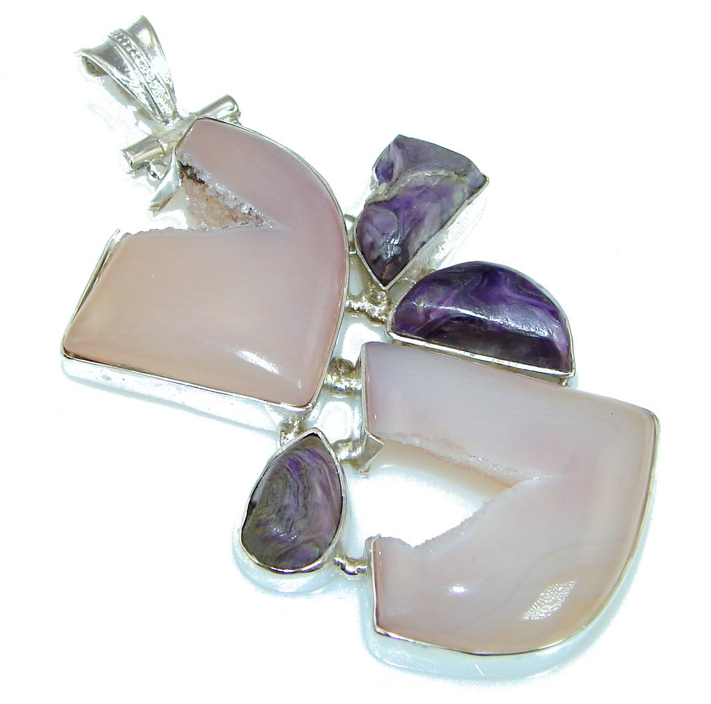 Big! Light Pink Agate Druzy Sterling Silver Pendant