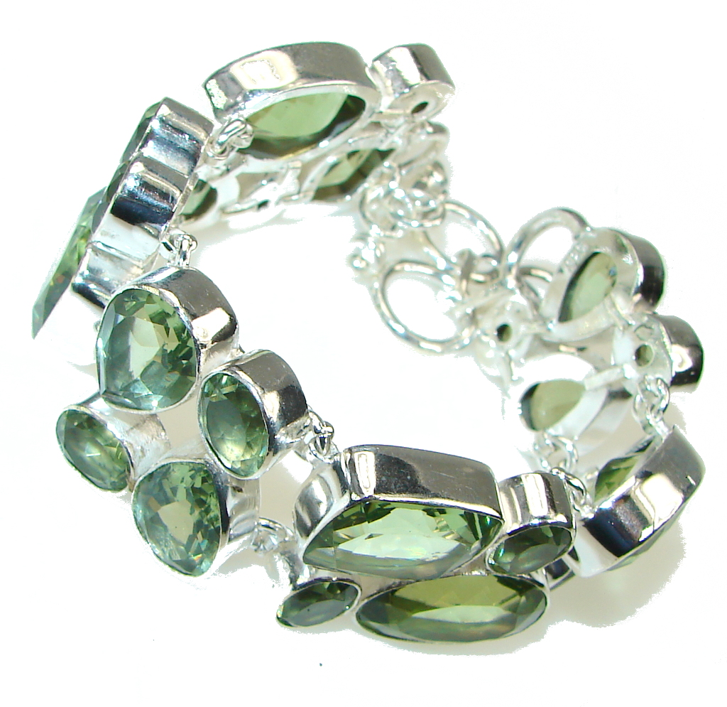 Green Island! Created Green Amethyst Sterling Silver Bracelet
