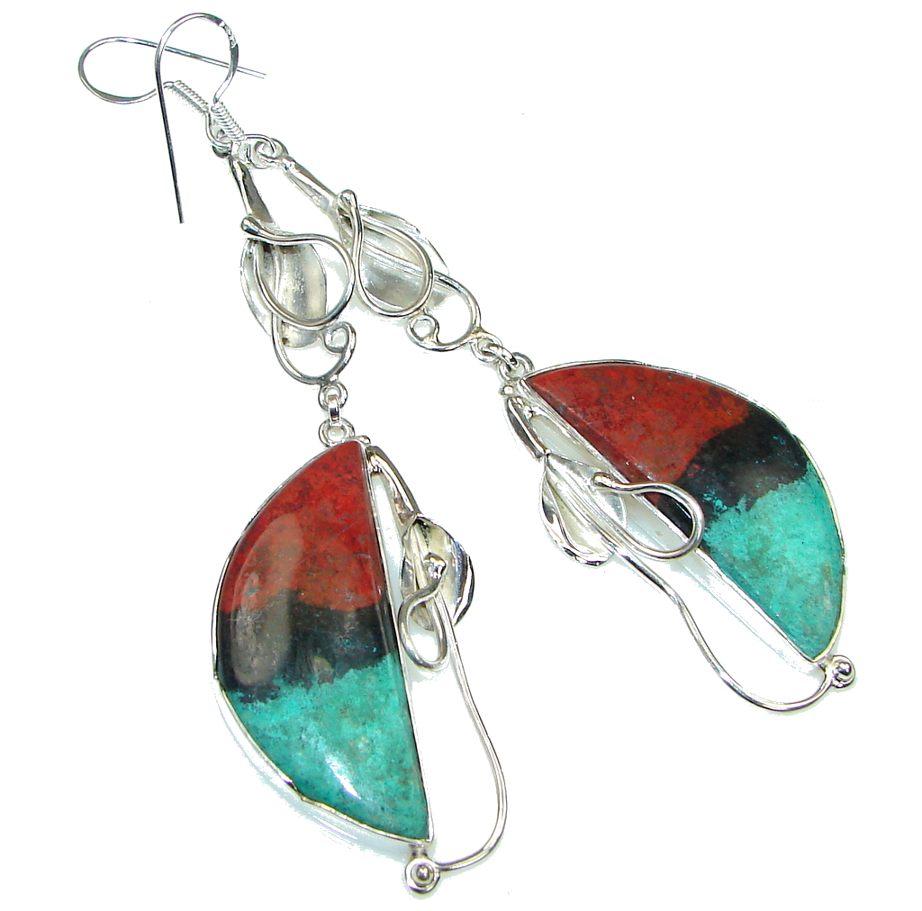 Exclusive! Red Sonora Jasper Sterling Silver Earrings / Long