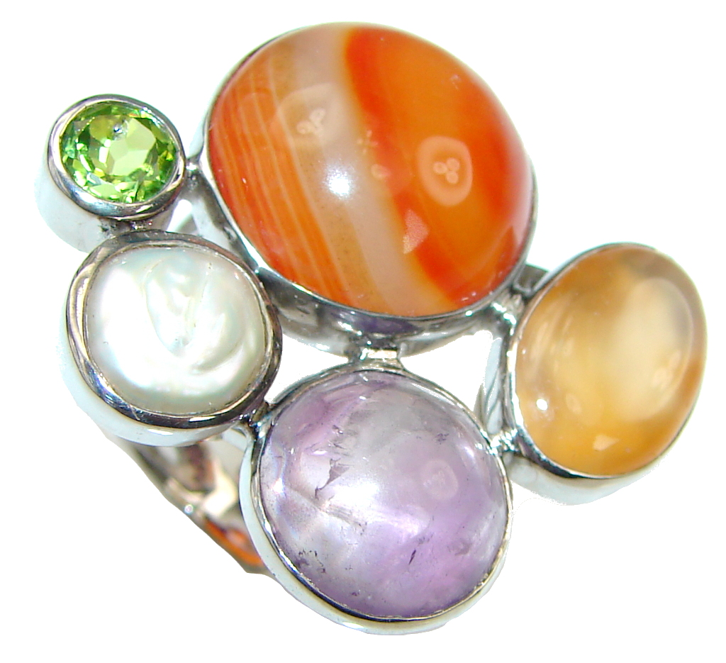 Big! Aura Of Beauty! Orange Agate Sterling Silver Ring s. 9 - Adjustable