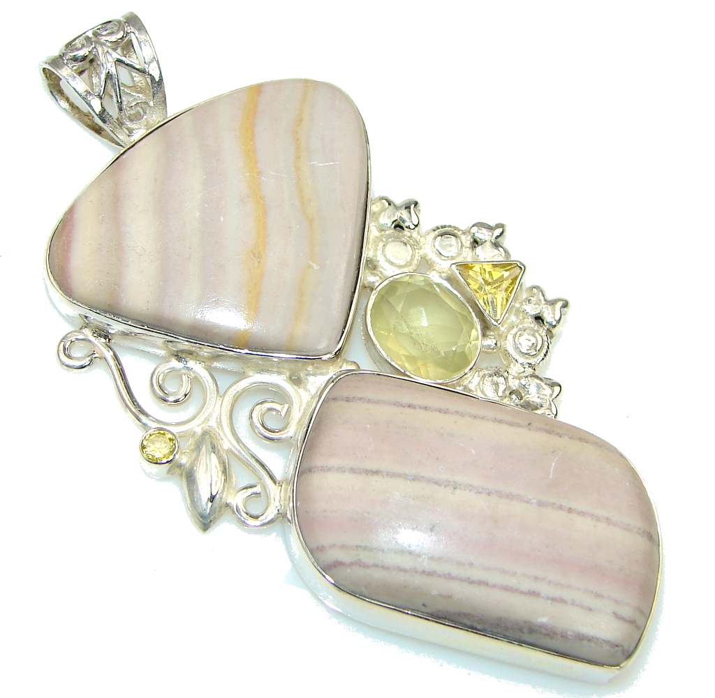 Large! Excellent Pink Lace Agate Sterling Silver Pendant