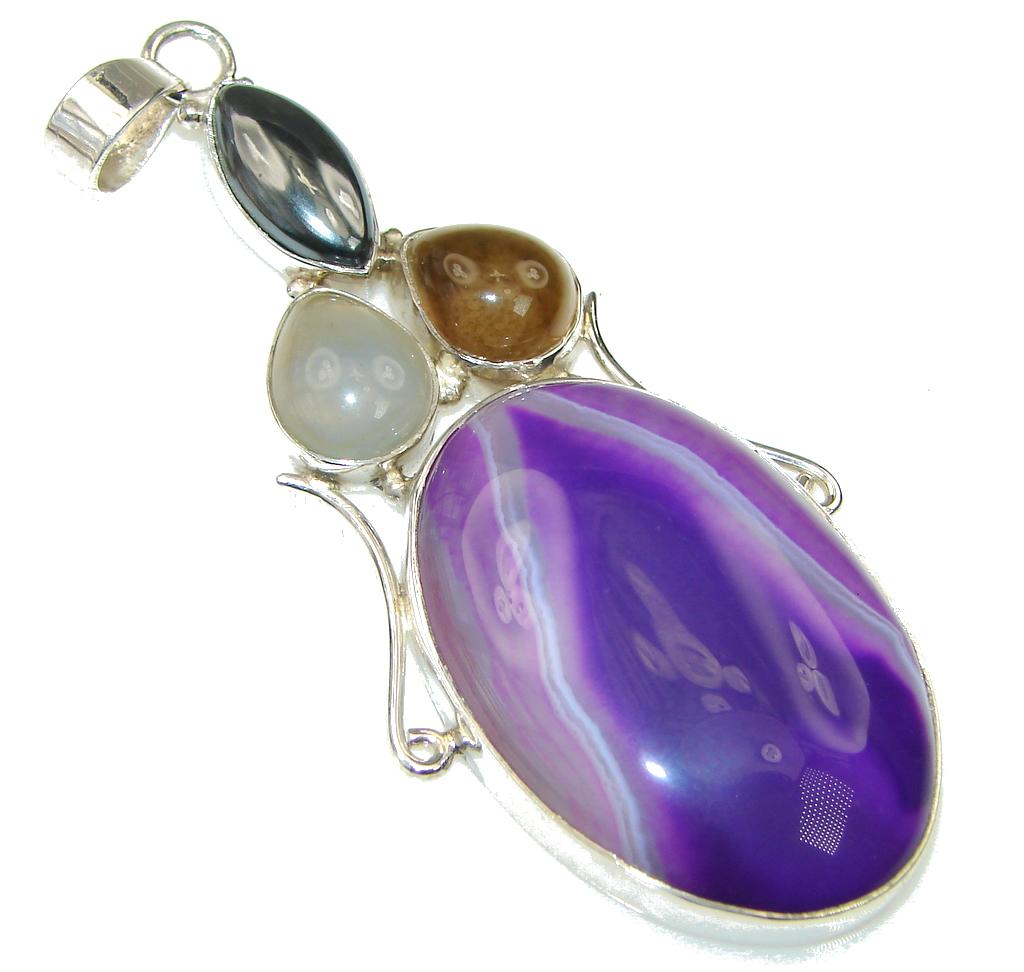 Big! Fabulous Purple Botswana Agate Sterling Silver Pendant