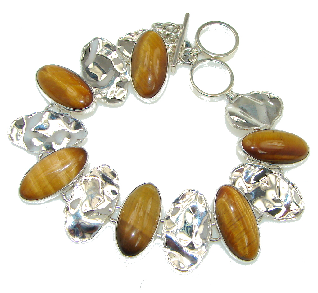 Beautiful Style! Tigers Eye Covered Back Sterling Silver Bracelet
