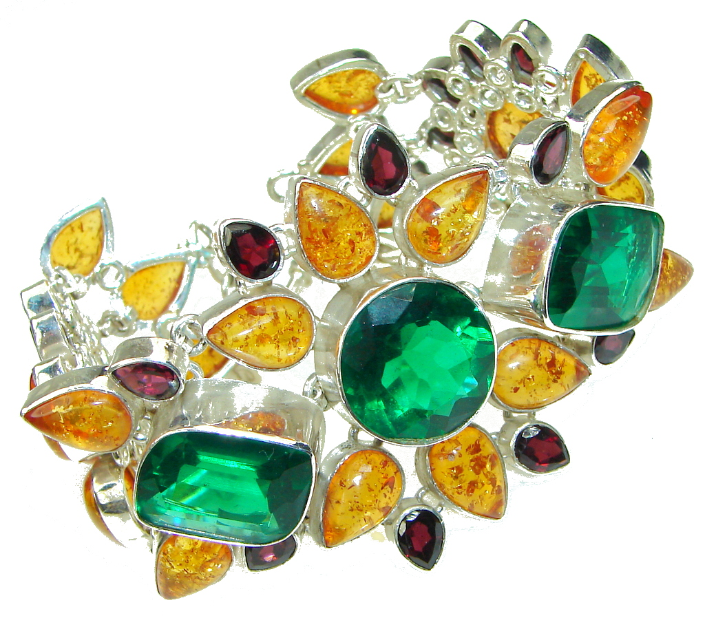 Green Island!! Chrome Diopside Quartz & Created Amber Sterling Silver Bracelet