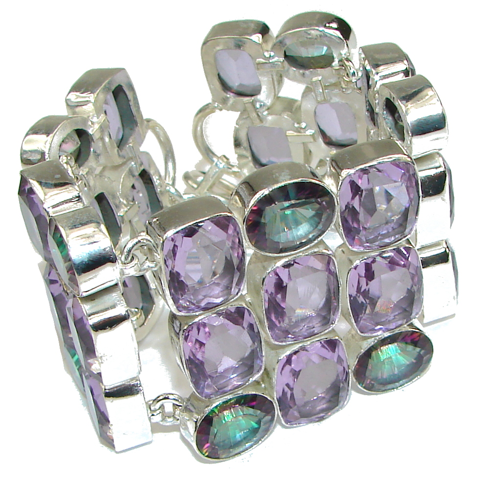 Beautiful! Created Purple Amethyst & Magic Topaz Sterling Silver Bracelet