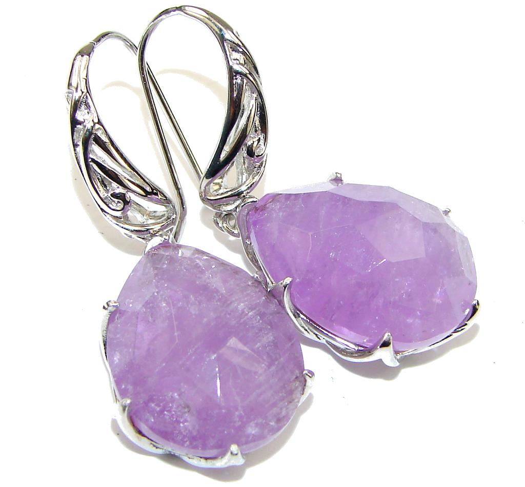 Exclusive! Natural Purple Amethyst Sterling Silver earrings