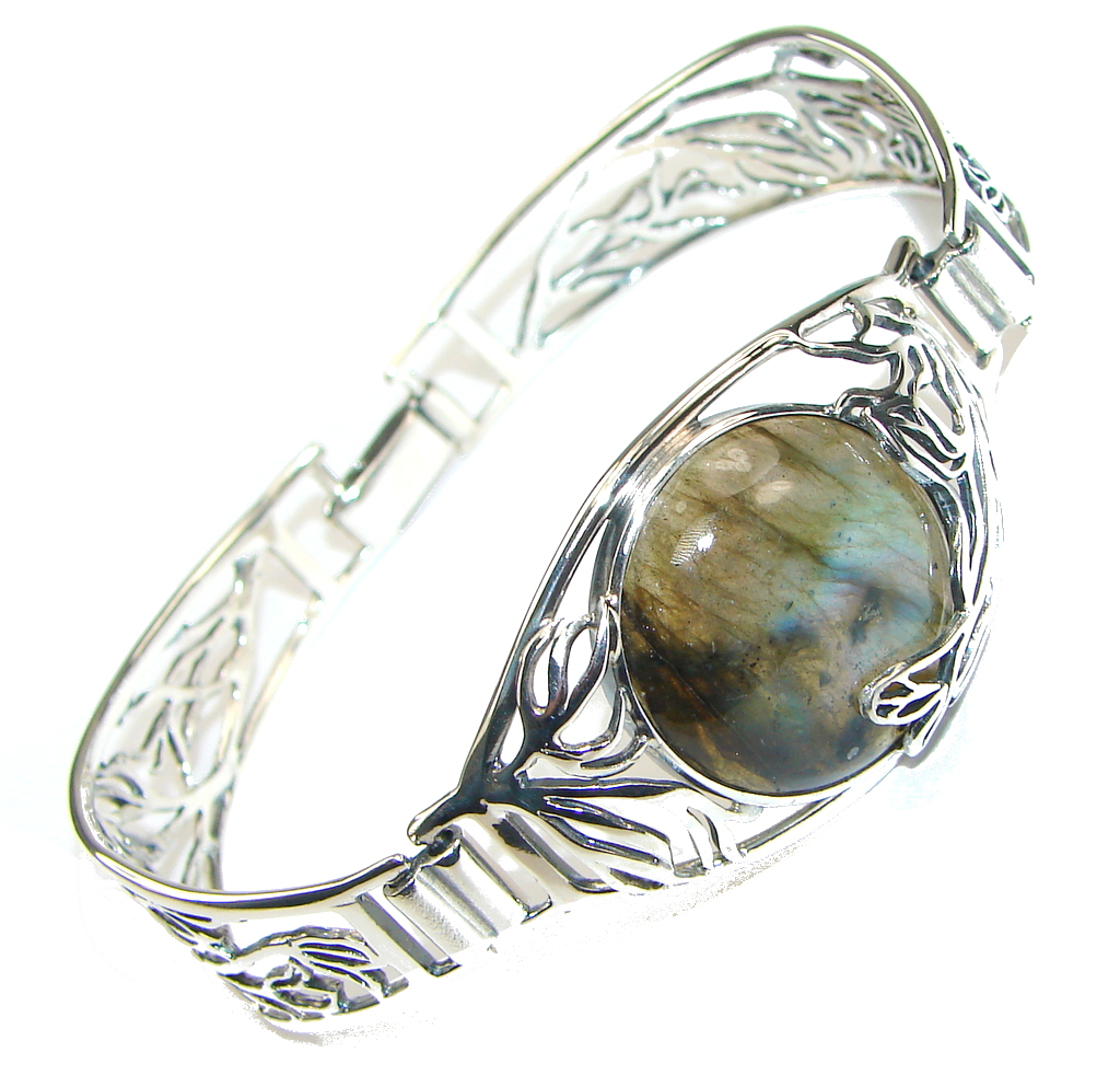 Beautiful Design! AAA Blue Labradorite Sterling Silver Bracelet