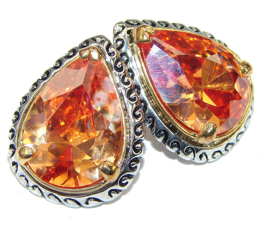 Fancy Quality! Golden Topaz Quartz Sterling Silver earrings