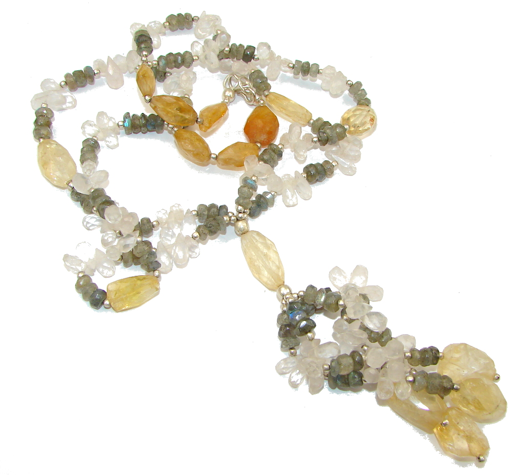 Summer Allure! Yellow Citrine & Labradorite & Rose Quartz Sterling Silver necklace