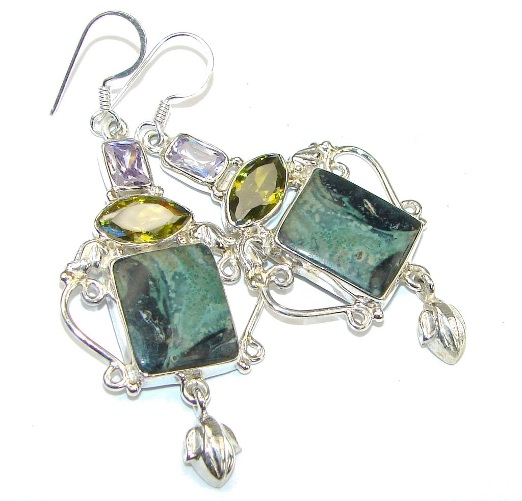 Excellent! Green Rainforest Jasper Sterling Silver earrings