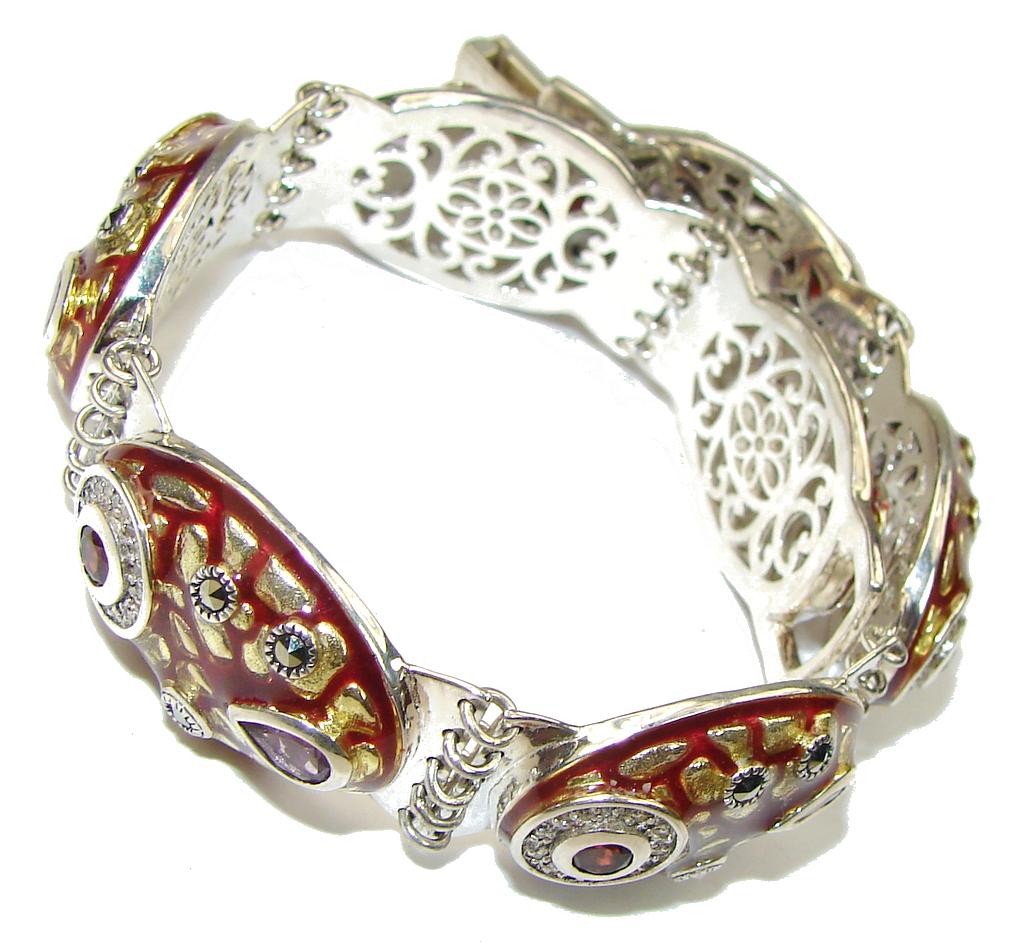 Royal Design! Purple Amethyst & Garnet Sterling Silver Bracelet