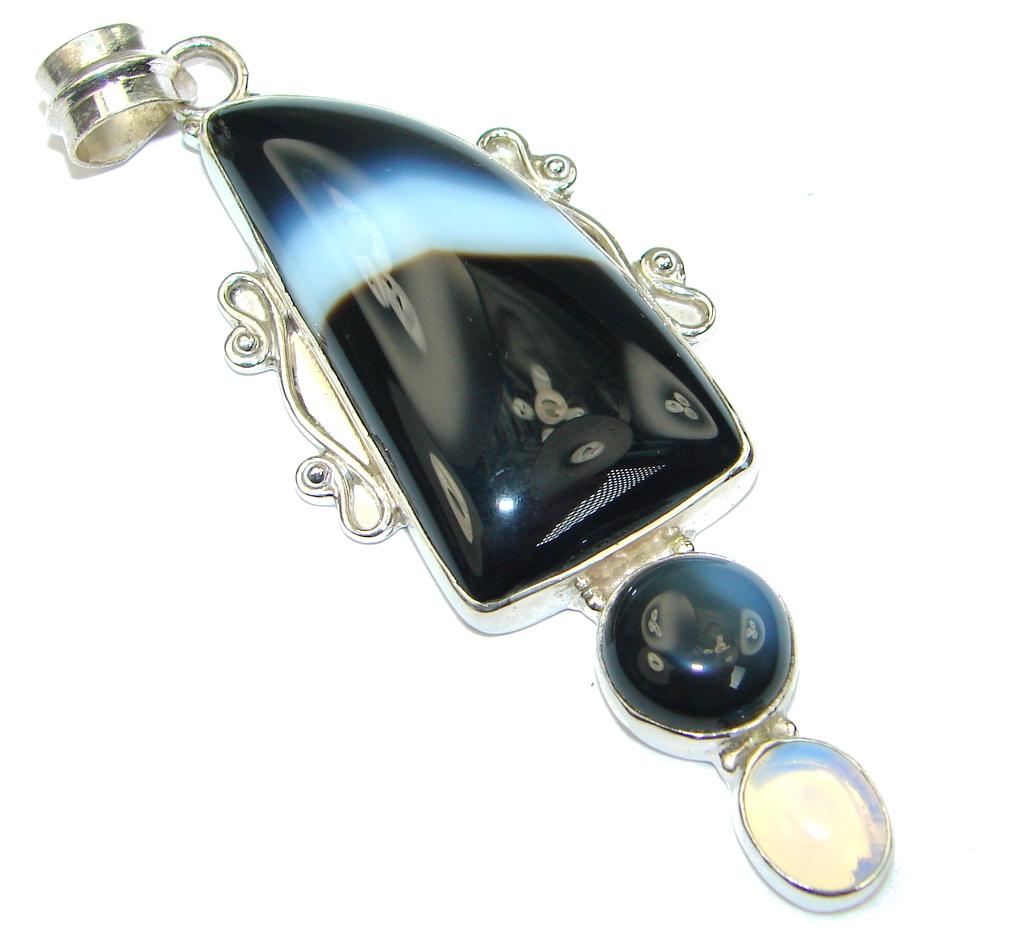 Big! Fashion! Black Botswana Agate Sterling Silver Pendant