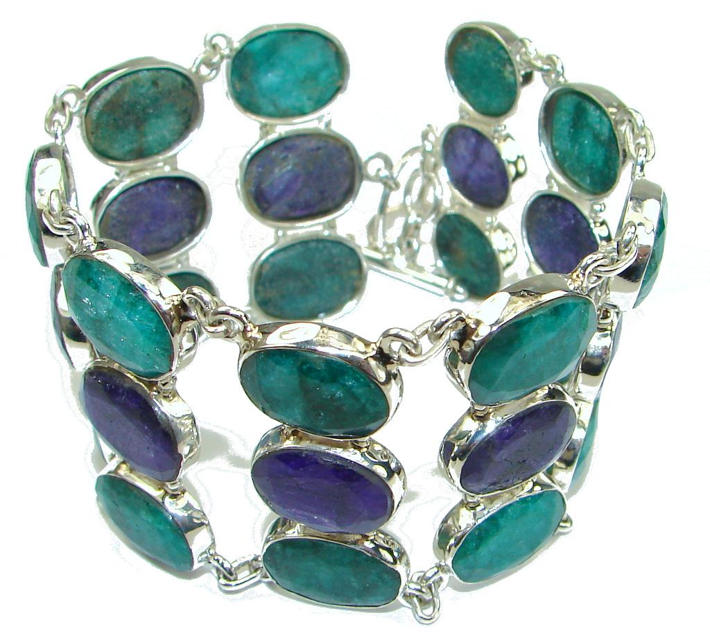 Beautiful! Green Emerald & Sapphire Sterling Silver Bracelet