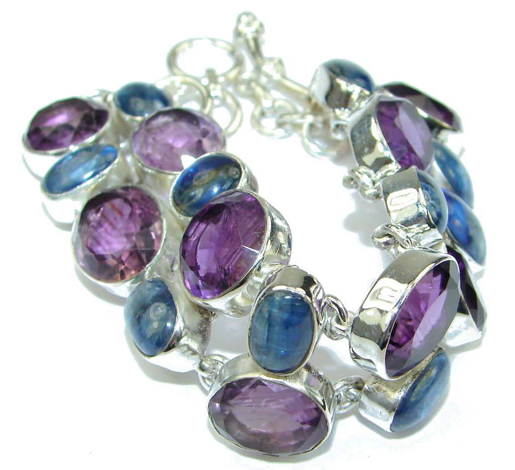 Exclusive! Genuine Kyanite & Amethyst Sterling Silver Bracelet