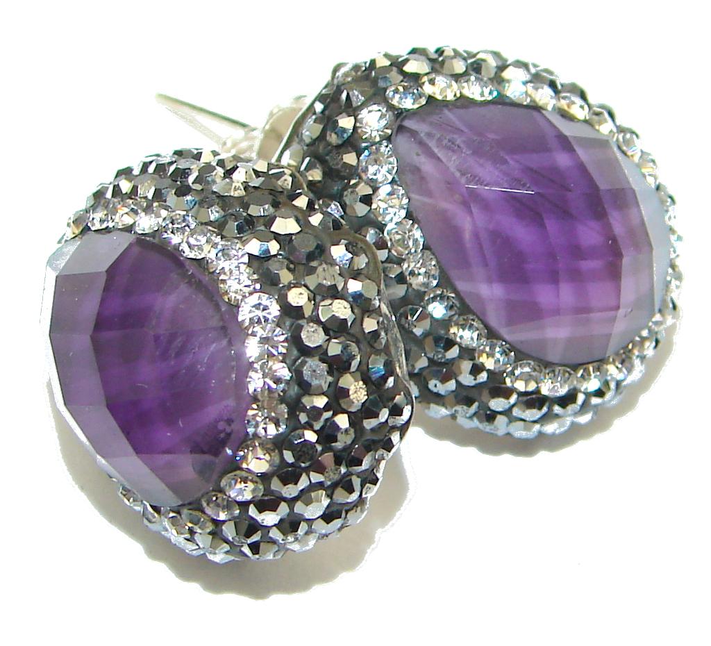 Fancy Amethyst Spinel Sterling Silver earrings