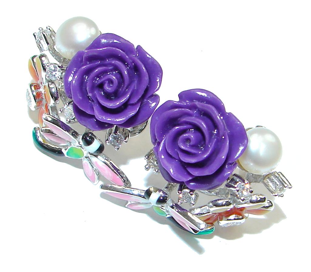 Garden Design! Purple Pearl Mass Sterling Silver earrings