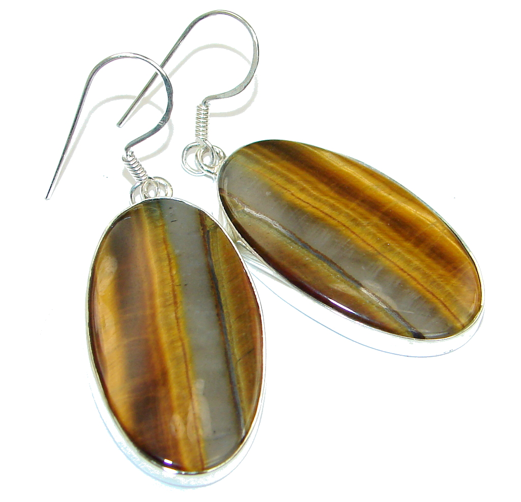 Excellent! AAA Iron Tigers Eye Sterling Silver Earrings