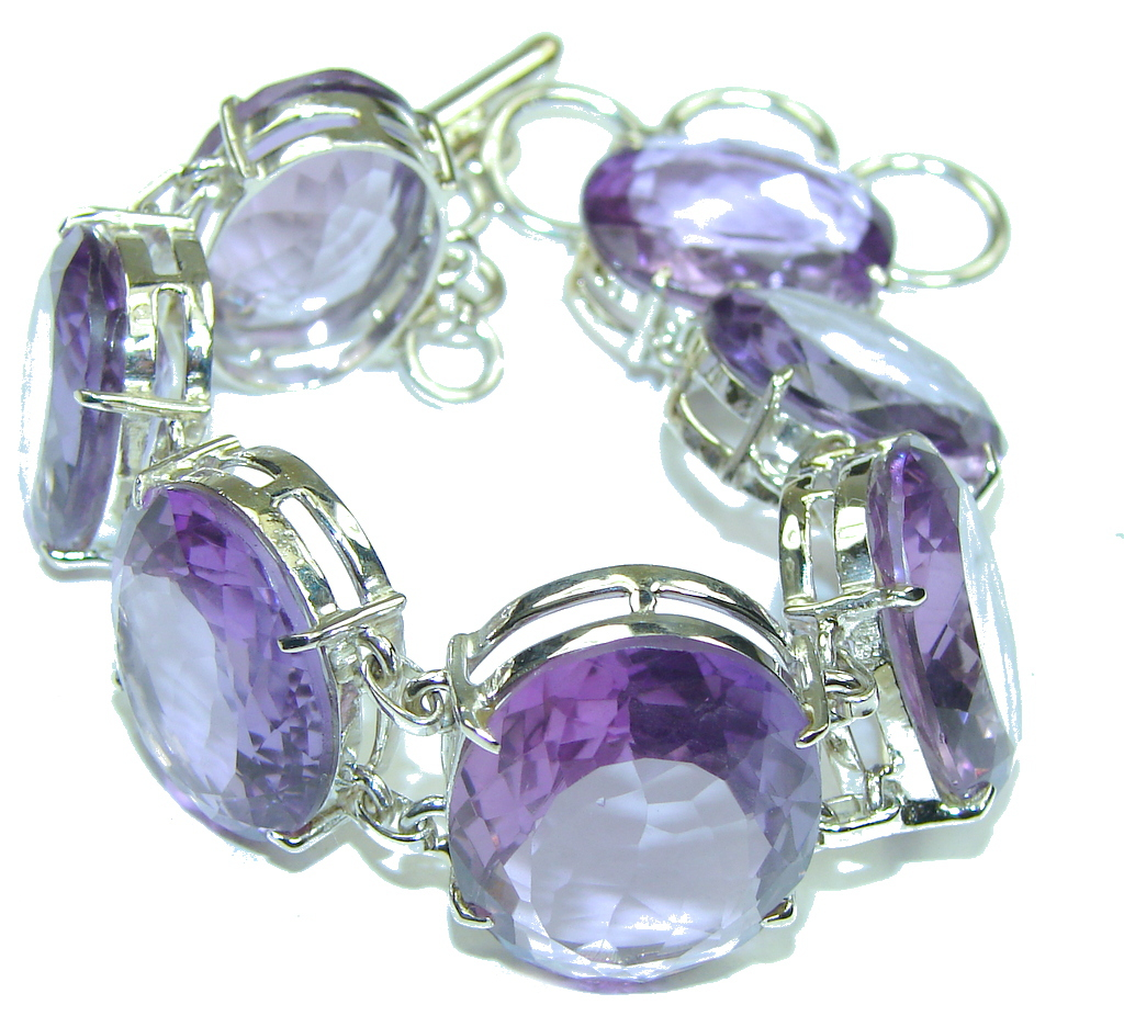 Beautiful Design! Created Perfect Amethyst Sterling Silver Bracelet