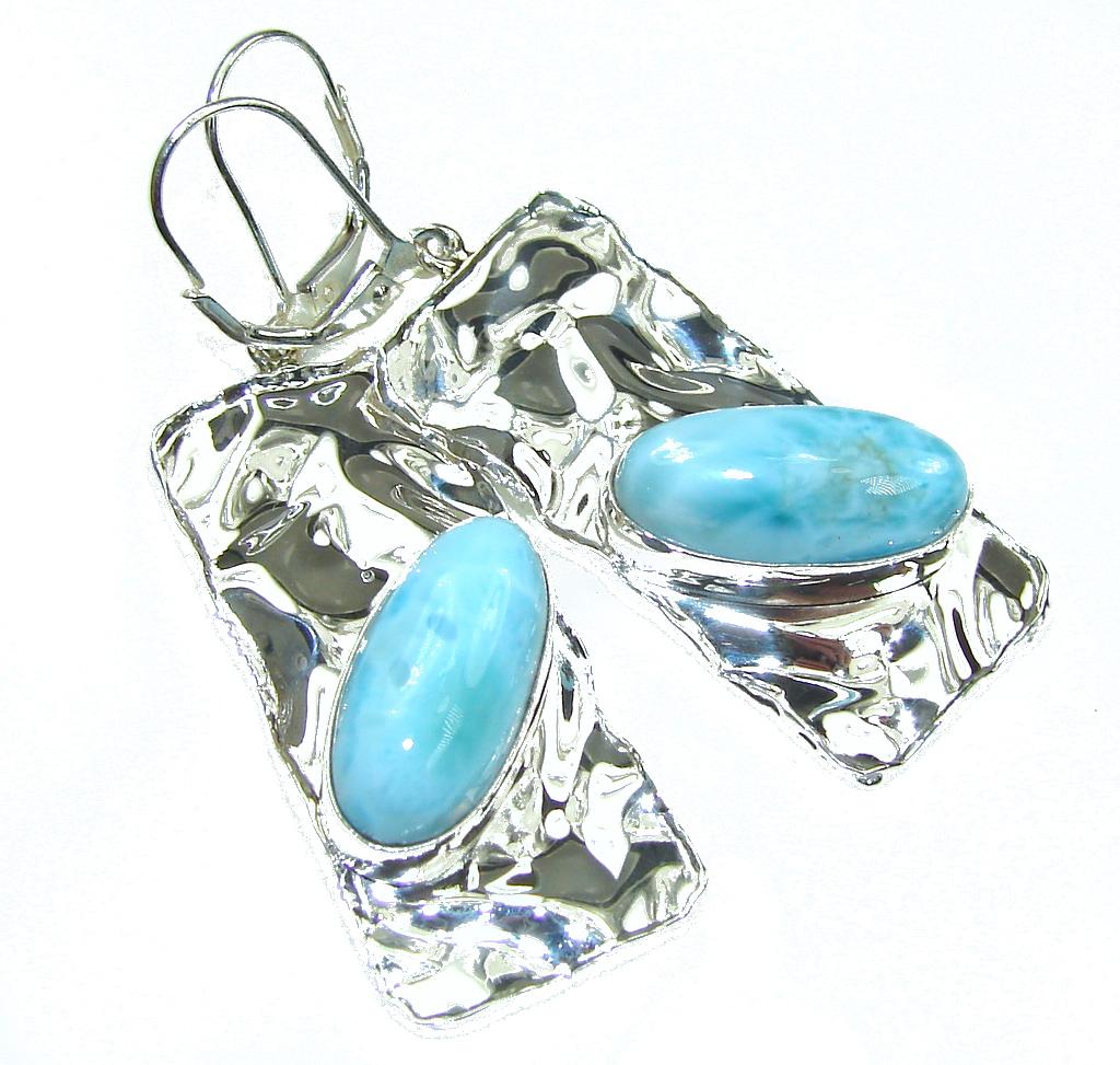 Beautiful Design! Blue Larimar Hammered Sterling Silver earrings