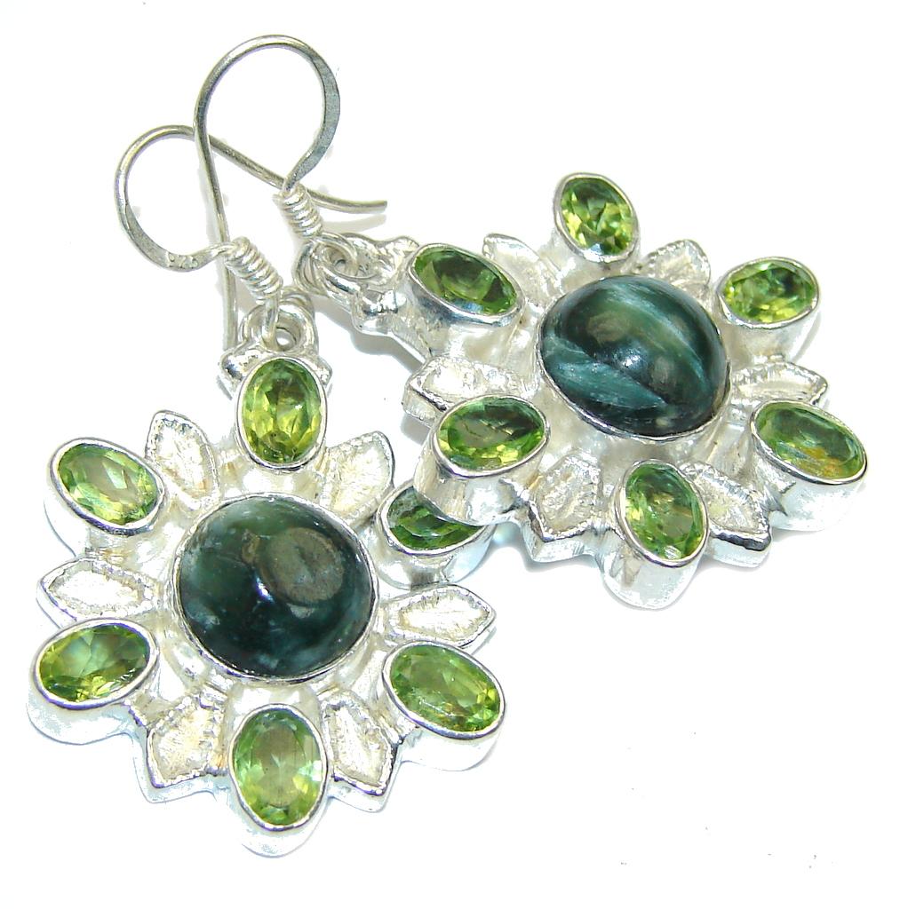 Green Island! Green Seraphinite Sterling Silver earrings