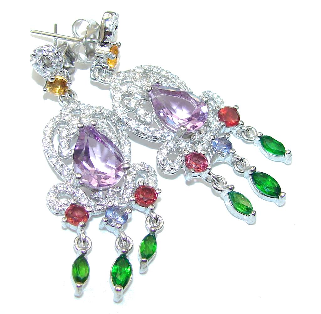 Fancy Quality! Purple Amethyst Sterling Silver earrings