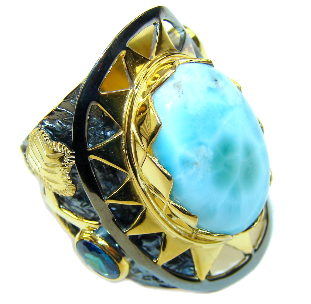 Big! Caribbean Sercet AAA Blue Larimar, Gold Plated, Rhodium Plated Sterling Silver Ring s. 8