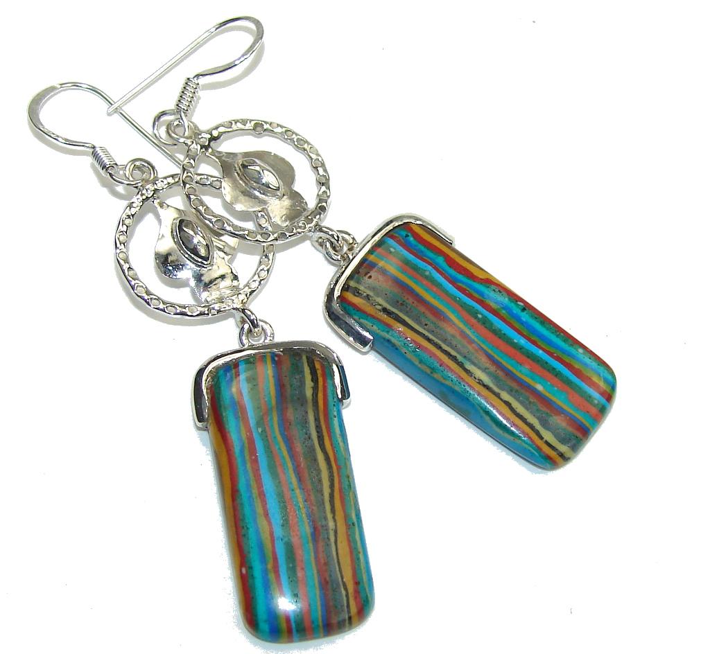 Fabulous Style! Rainbow Calsilica Sterling Silver earrings