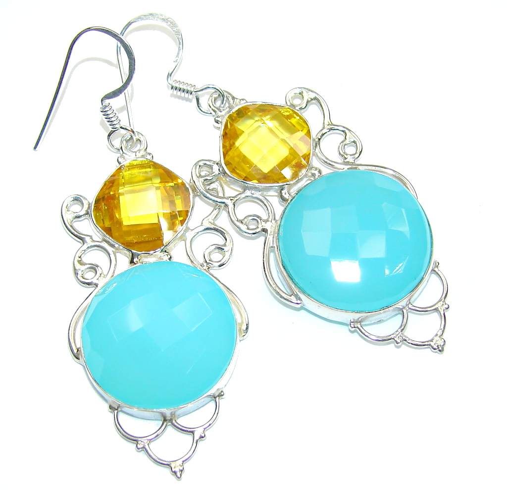 Delicate! Light Blue Agate Sterling Silver earrings