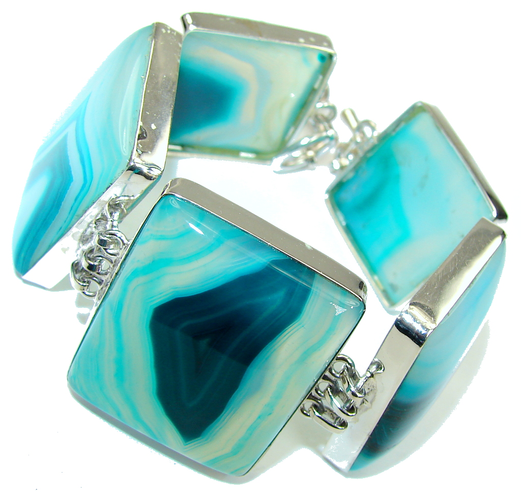 Stylish Design!! Green Botswana Agate Sterling Silver Bracelet