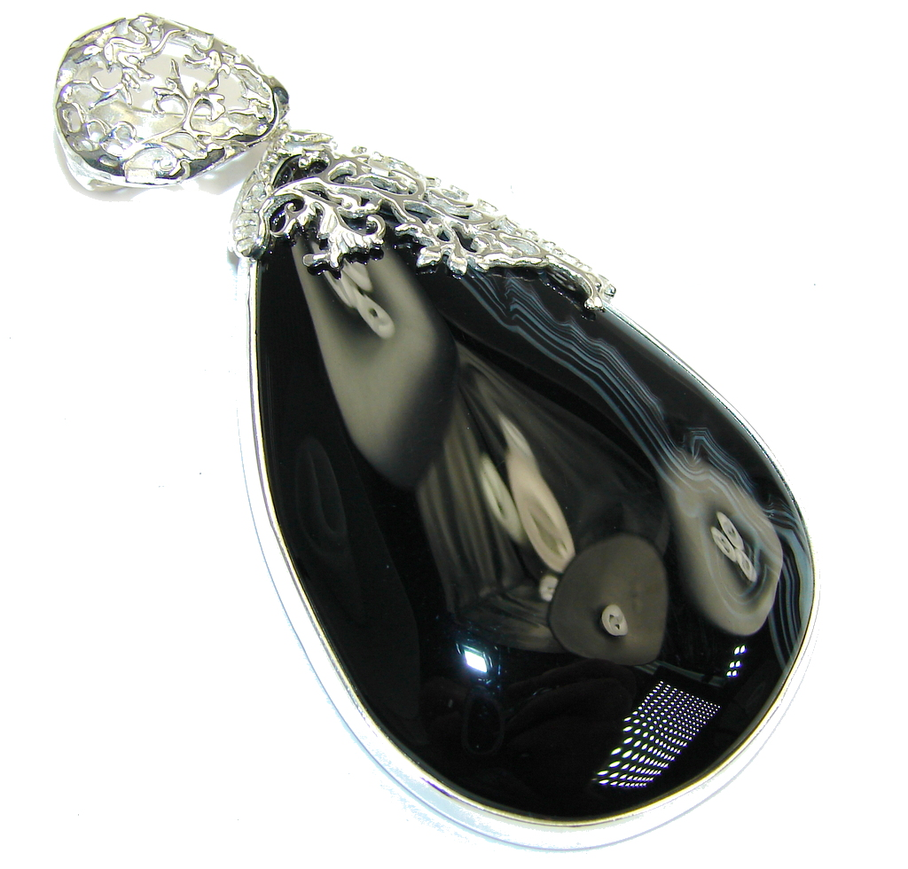 Big! Just Glow! Black Botswana Agate Sterling Silver Pendant